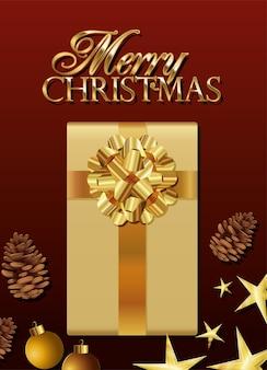 Caixa de presente dourada com ilustração de letras de feliz natal