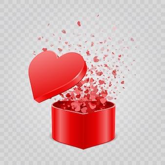 Caixa de presente e confetes de corações isolados em fundo transparente