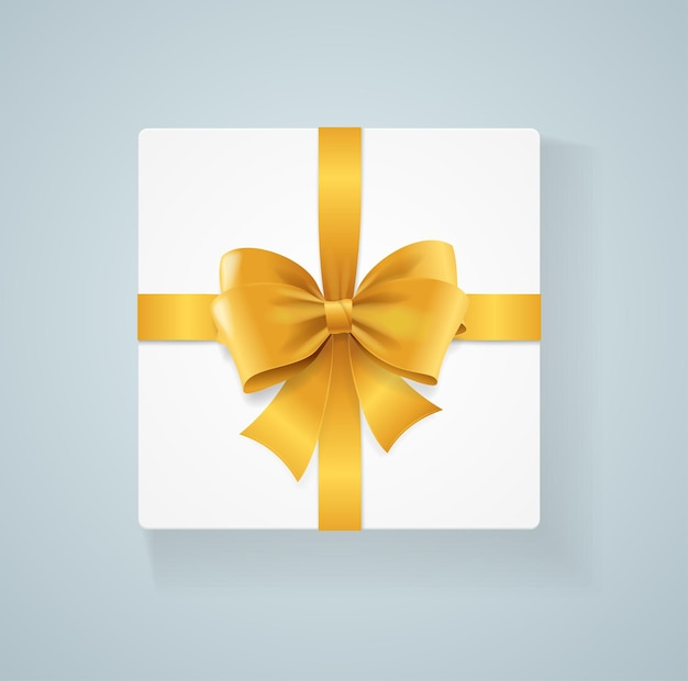 Caixa de presente e laço dourado. ilustração vetorial