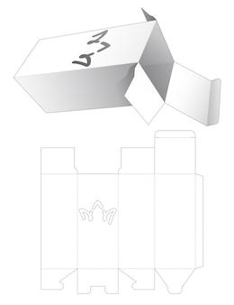 Caixa de presente e modelo de estêncil de coroa de doodle cortados