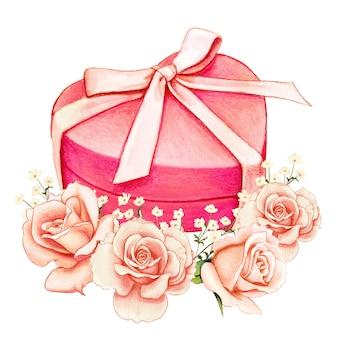 Caixa de presente em aquarela em formato de coração rosa e rosas cor de pêssego