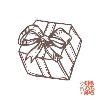 Caixa de presente em esboço estilo desenhado à mão, ilustração de doodle