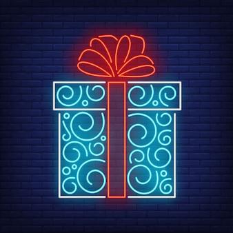 Caixa de presente em estilo neon