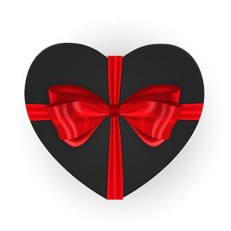Caixa de presente em forma de coração com laço
