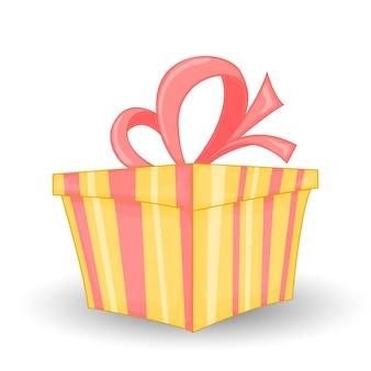 Caixa de presente embrulhada colorida. linda caixa de presente de natal e ano novo com laço envolvente. ilustração vetorial.