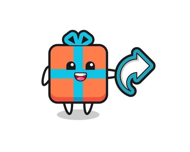 Caixa de presente fofa com símbolo de compartilhamento de mídia social, design de estilo fofo para camiseta, adesivo, elemento de logotipo