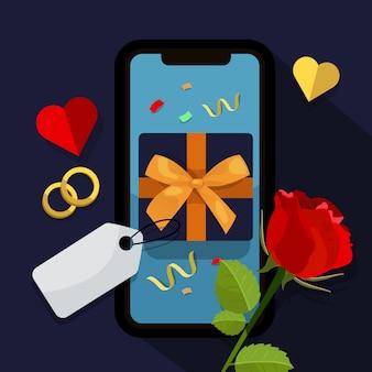 Caixa de presente no telefone móvel
