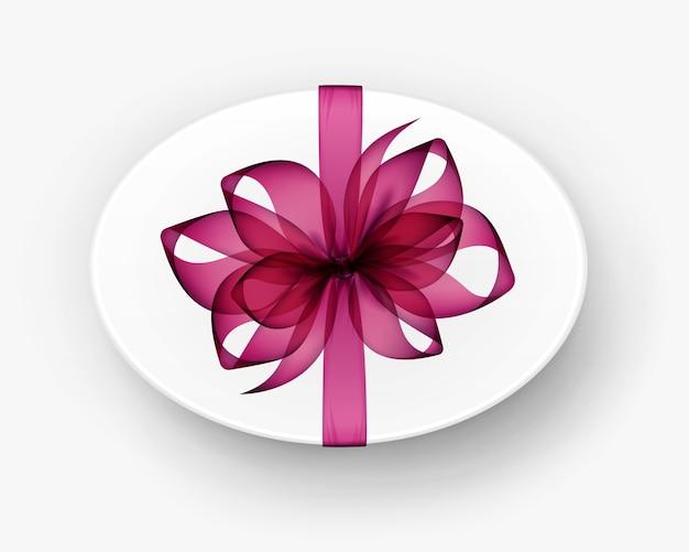 Caixa de presente oval redonda branca com laço e fita rosa