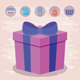 Caixa de presente presente com ícones comerciais