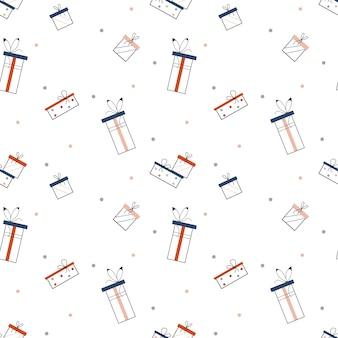 Caixa de presente presente sem costura padrão de fundo textura de vetor de feriados de natal de ano novo
