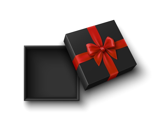 Caixa de presente preta aberta com ilustração de laço vermelho