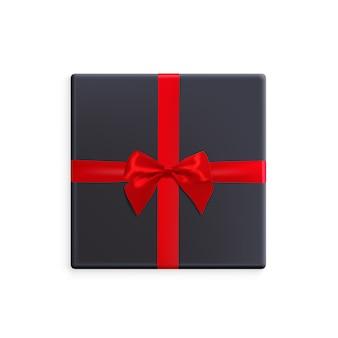 Caixa de presente preta com fita vermelha e ilustração de arco