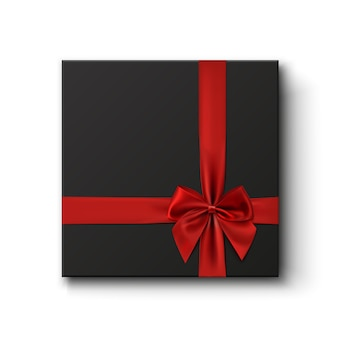 Caixa de presente preta com fita vermelha