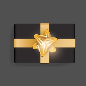 Caixa de presente preta com laço de fita dourada. modelo de caixa de presente realista bonito para aniversário, natal, design de ano novo. ilustração em vetor vista superior