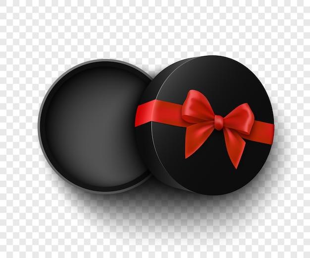Caixa de presente preta redonda aberta com laço vermelho