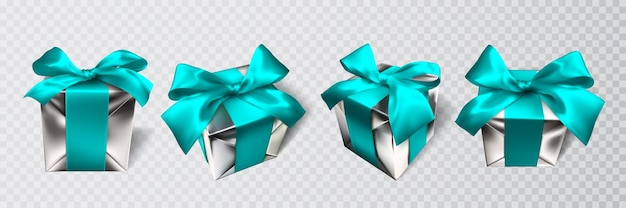 Caixa de presente realista com laço azul isolado