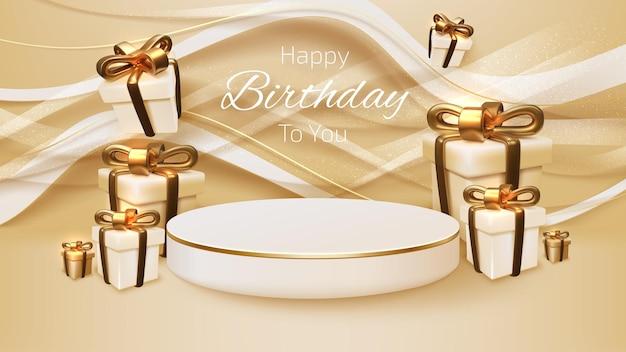 Caixa de presente realista e fita dourada com pódio branco na curva de linha, design de plano de fundo de luxo feliz dia de nascimento