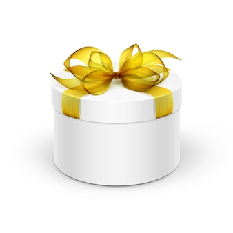 Caixa de presente redonda branca com fita amarela e laço isolado no fundo