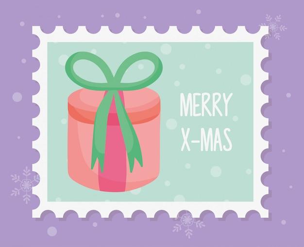 Caixa de presente redonda com carimbo de feliz natal arco
