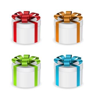 Caixa de presente redonda com conjunto de fita 3d