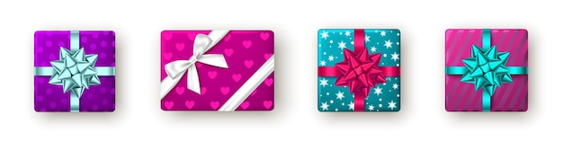Caixa de presente rosa azul roxa com fita e laço de design de pacote de ano novo de natal