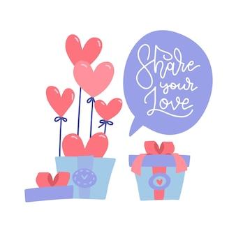 Caixa de presente surpresa com balões de coração vermelho