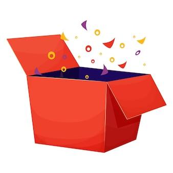 Caixa de presente surpresa em papelão aberto ou recompensa em estilo cartoon