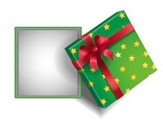 Caixa de presente verde aberta vazia com estrelas e fita vermelha.