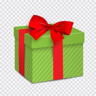 Caixa de presente verde com laço vermelho