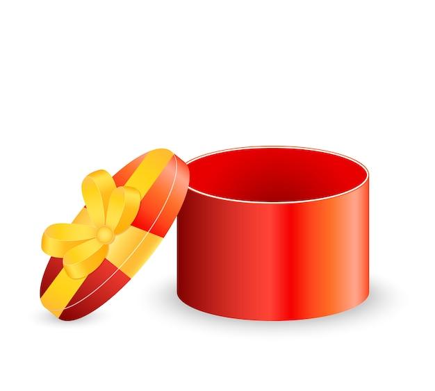 Caixa de presente vermelha aberta isolada no fundo branco