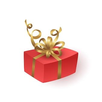 Caixa de presente vermelha com fita e laço de ouro.