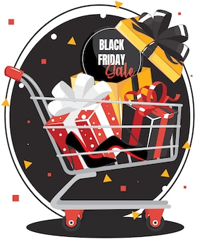 Caixa de presente vermelha com laço preto no carrinho de compras com liquidação de sexta-feira preta e sapatos pretos