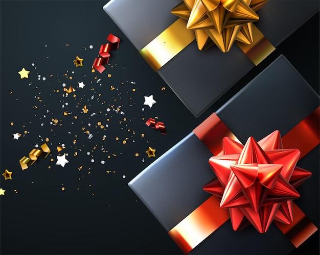 Caixa de presente vermelha do natal do ano novo com fita do ouro e curva - ilustração da vista superior. lantejoulas de brilho brilho sobre fundo vermelho. bom para publicidade sazonal cartaz banner flyer design.