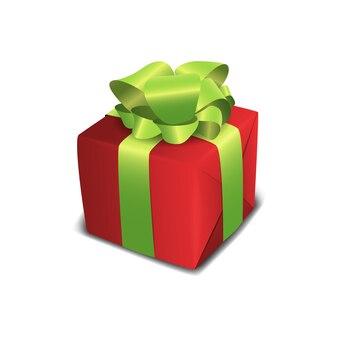 Caixa de presente vermelha isolada com fitas verdes.