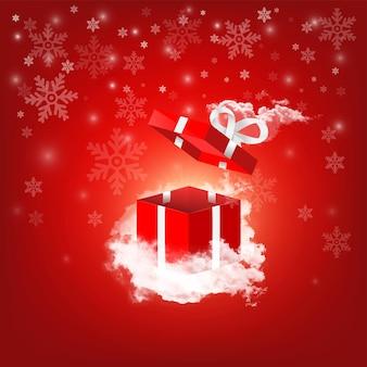 Caixa de presente vermelha voando aberta na nuvem com fundo de floco de neve