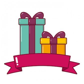 Caixa de presentes com fita de arco