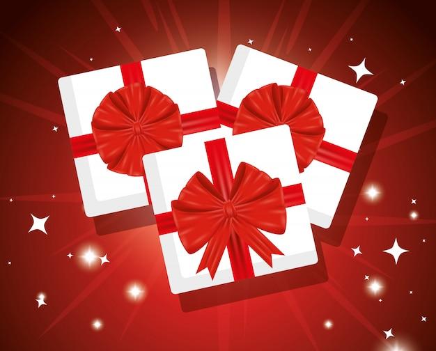 Caixa de presentes com fitas