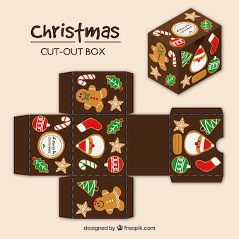 Caixa de recorte vintage do natal