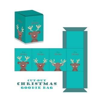 Caixa de recortes de mala de natal com rena