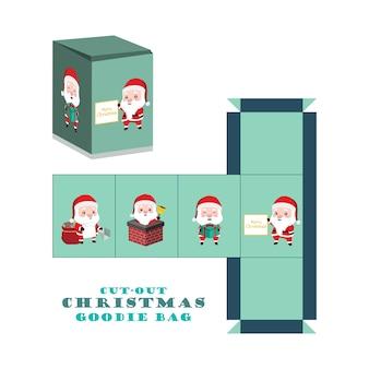 Caixa de recortes de mala de natal com santa