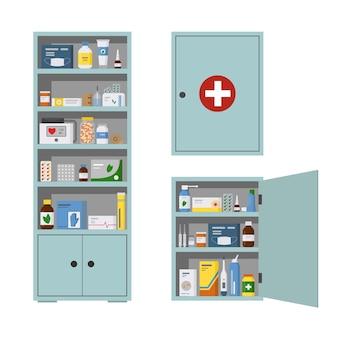 Caixa de remédios cheia de comprimidos de drogas e frascos ilustração vetorial plana de prateleira de farmácia isolada
