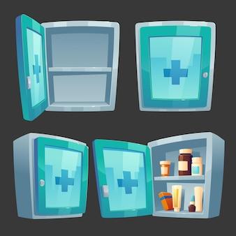 Caixa de remédios do kit de primeiros socorros com a farmácia fechada e aberta