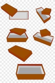 Caixa de sapatos marrom de maquete de vetor simples de 5 perspectivas, com fundo de efeito transparente