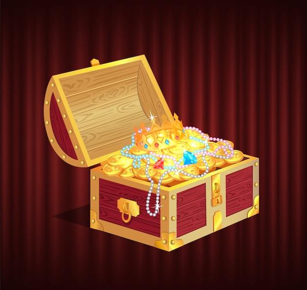Caixa de saque com pedras preciosas, brilhante e vetor de moedas