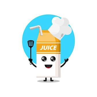 Caixa de suco de chef embalando mascote personagem fofa