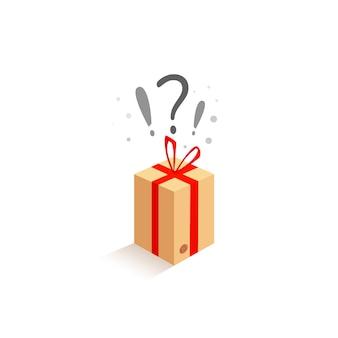 Caixa de surpresa com um laço decorativo de presente vermelho sobre um fundo branco