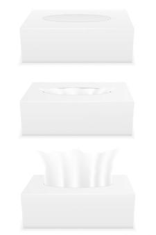 Caixa de tecido branco conjunto ilustração vetorial