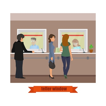 Caixa de tecnologia moderna. funcionários de vendas bancárias trabalhando com clientes.