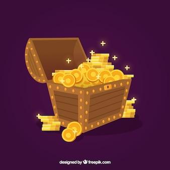 Caixa de tesouro com design plano