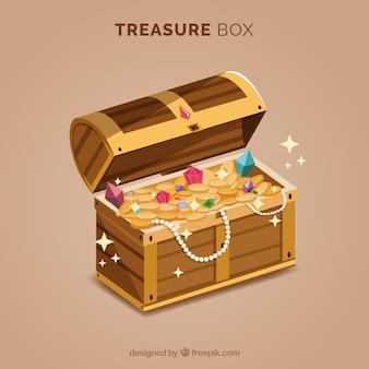 Caixa de tesouro com ouro e diamantes